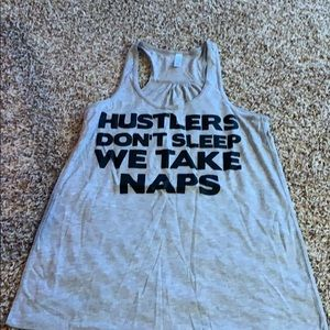Tops - Gray flowy racer back workout tank.